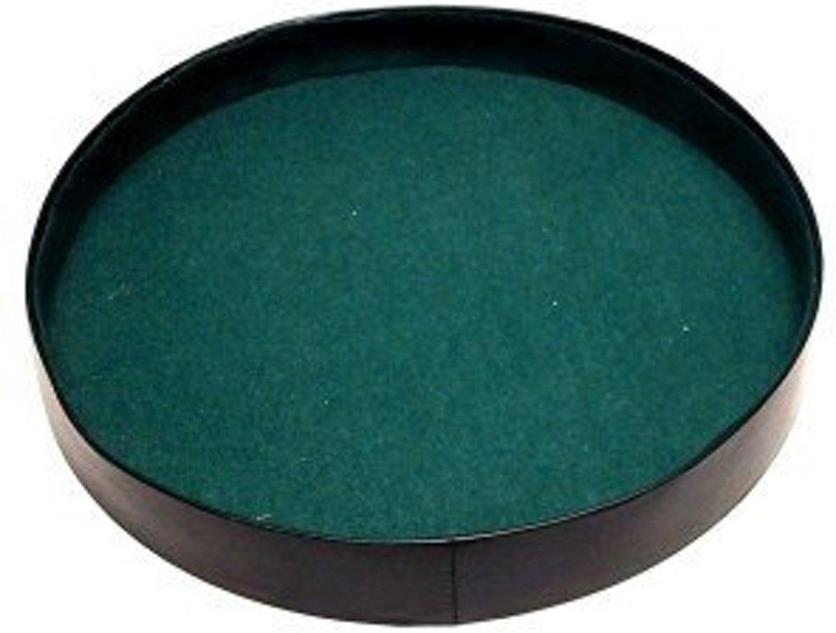 Dobbelpiste rond zwart vinyl met groen vilt 26cm.