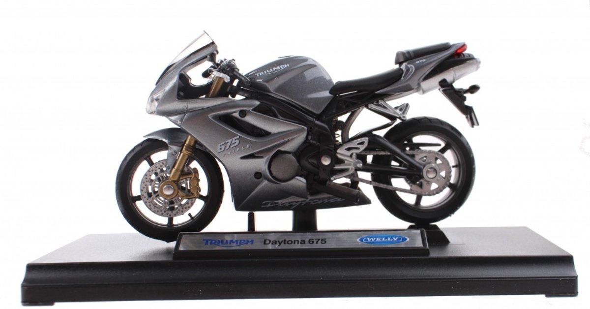 Welly Metalen Motorminiatuur Triumph Grijs 12 Cm