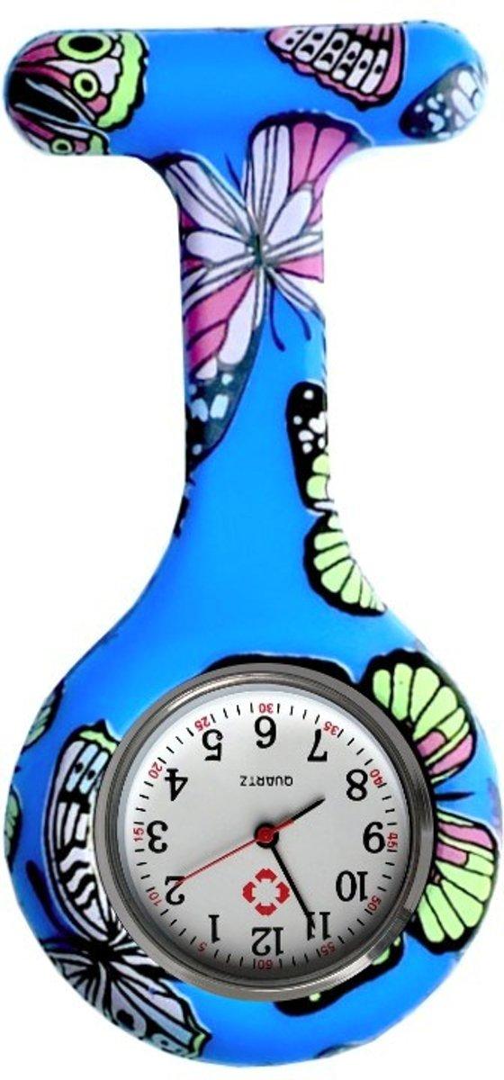 Fako Bijoux® - Verpleegstershorloge - Siliconen RVS Print - Vlinder Blauw kopen