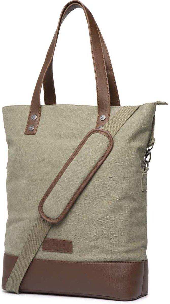 Cortina Oslo Shopper Bag 18L Army green/Brown voor op de voordrager kopen