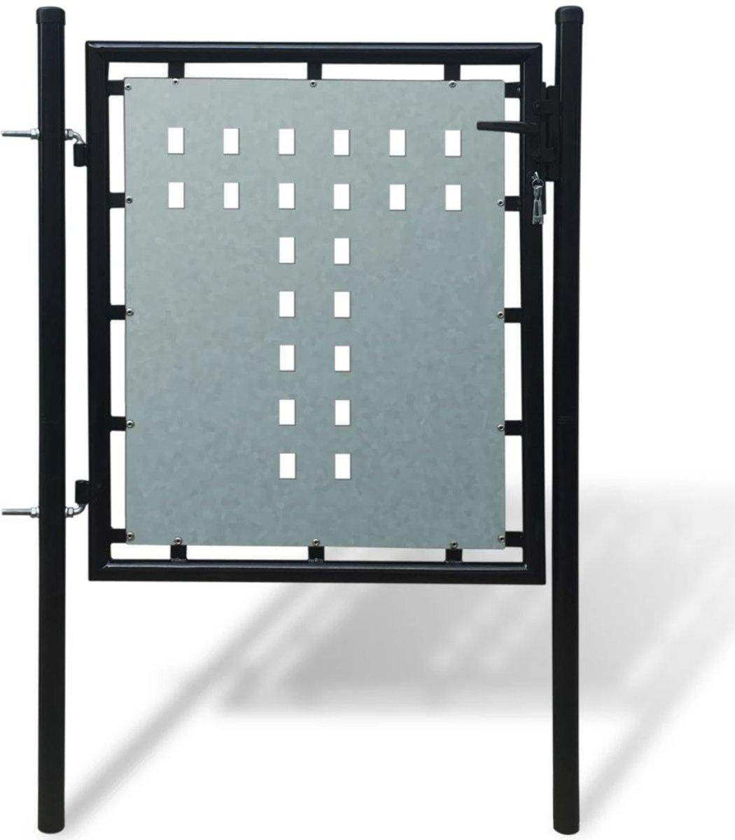 vidaXL Tuinpoort enkele deur zwart 100 x 125 cm kopen