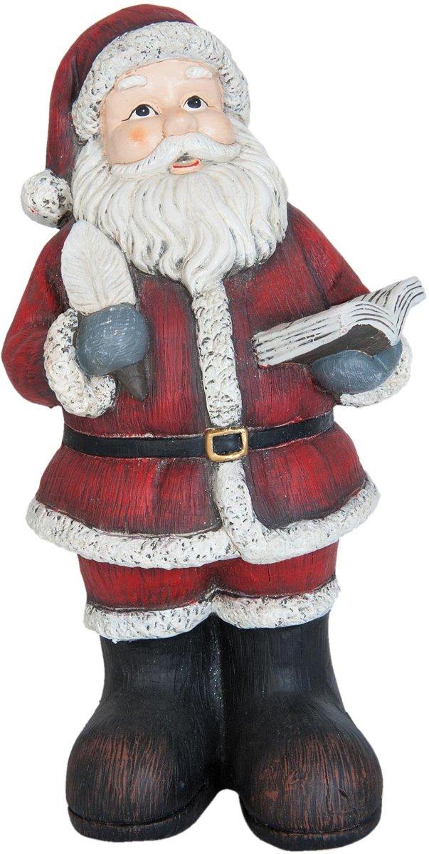 Kerstman met boek 45 cm 6PR0785   Winter & Kerst decoratie   Clayre & Eef kopen