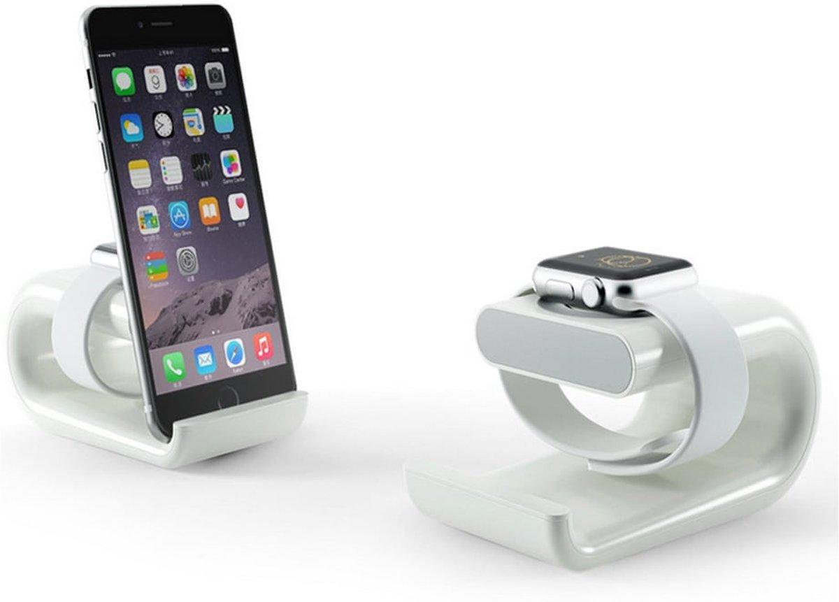 Apple watch stand / Iphone houder - wit | Watchbands-shop.nl kopen