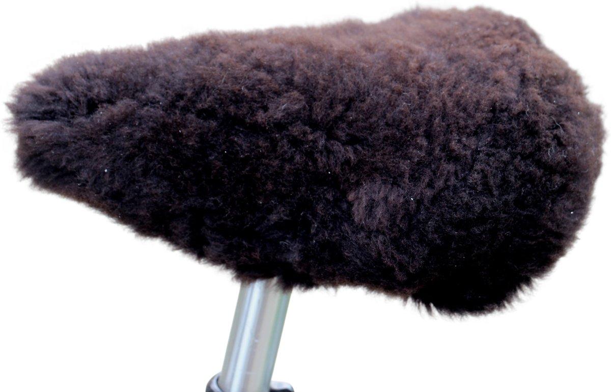 schapenvacht fietszadel dekje natuurbruine wol