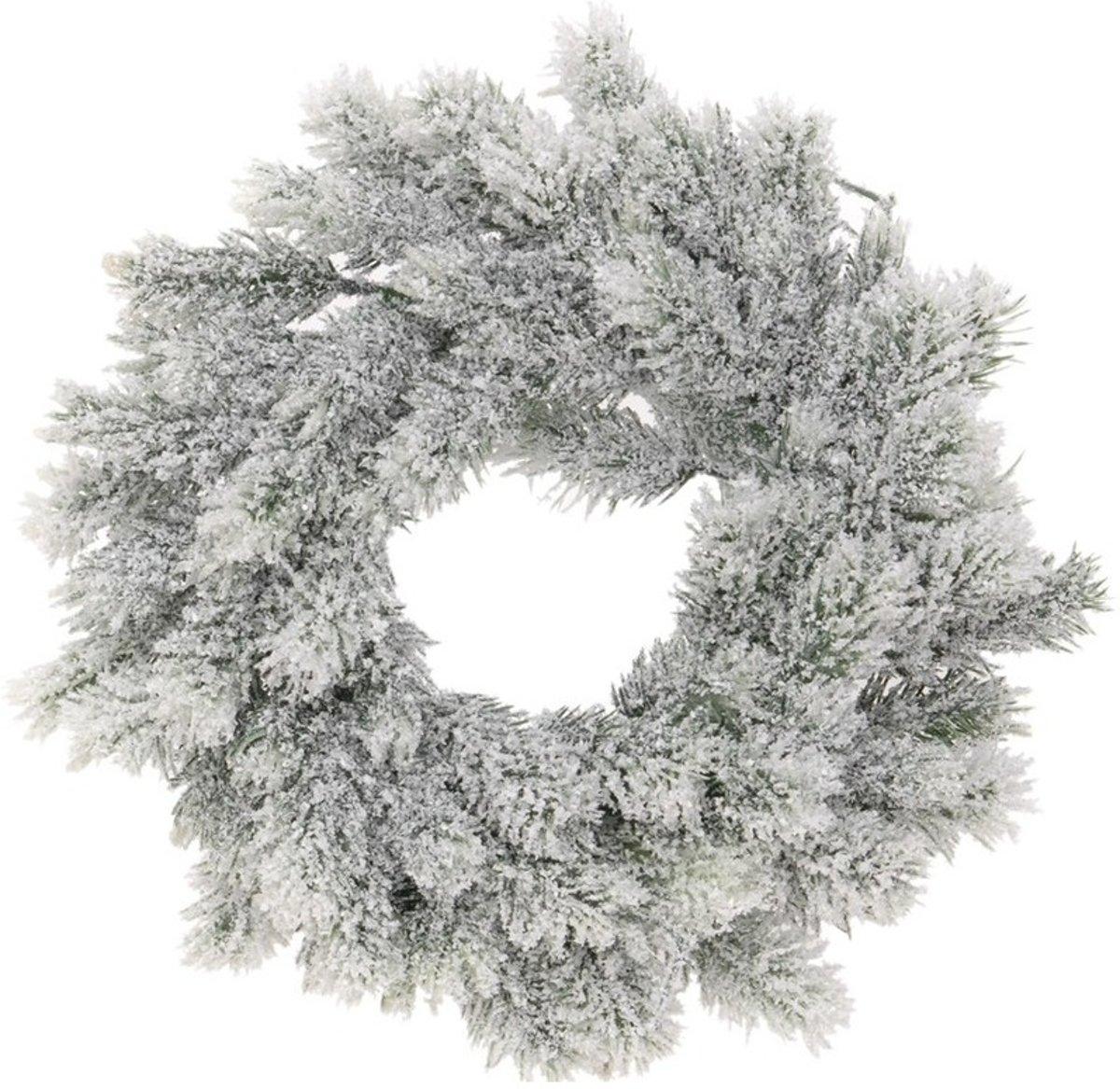 Kunst kerstkrans groen/sneeuw 35 cm kopen