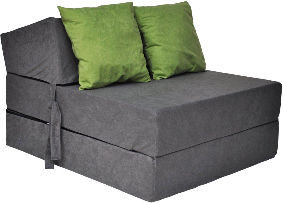 Luxe logeermatras - grijs - camping matras - reismatras - opvouwbaar matras - 200 x 70 x 15 - met groene kussens