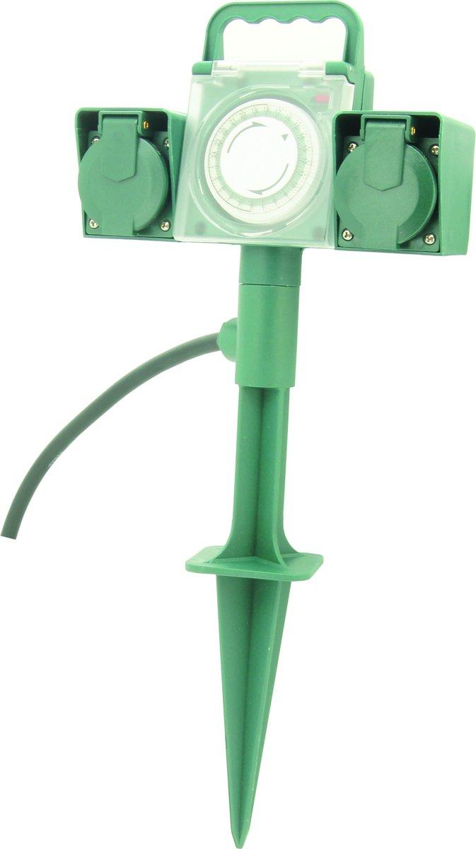 PROFILE outdoor tuinspies stopcontact - met schakelklok - 2-voudig - IP44 - zonder snoer - PENAARDE - groen/grijs kopen
