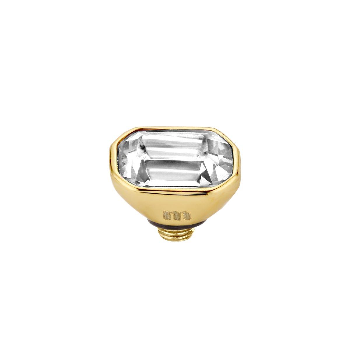 Melano twisted pillow cz steentje - crystal - dames - goudkleurig - 4mm kopen