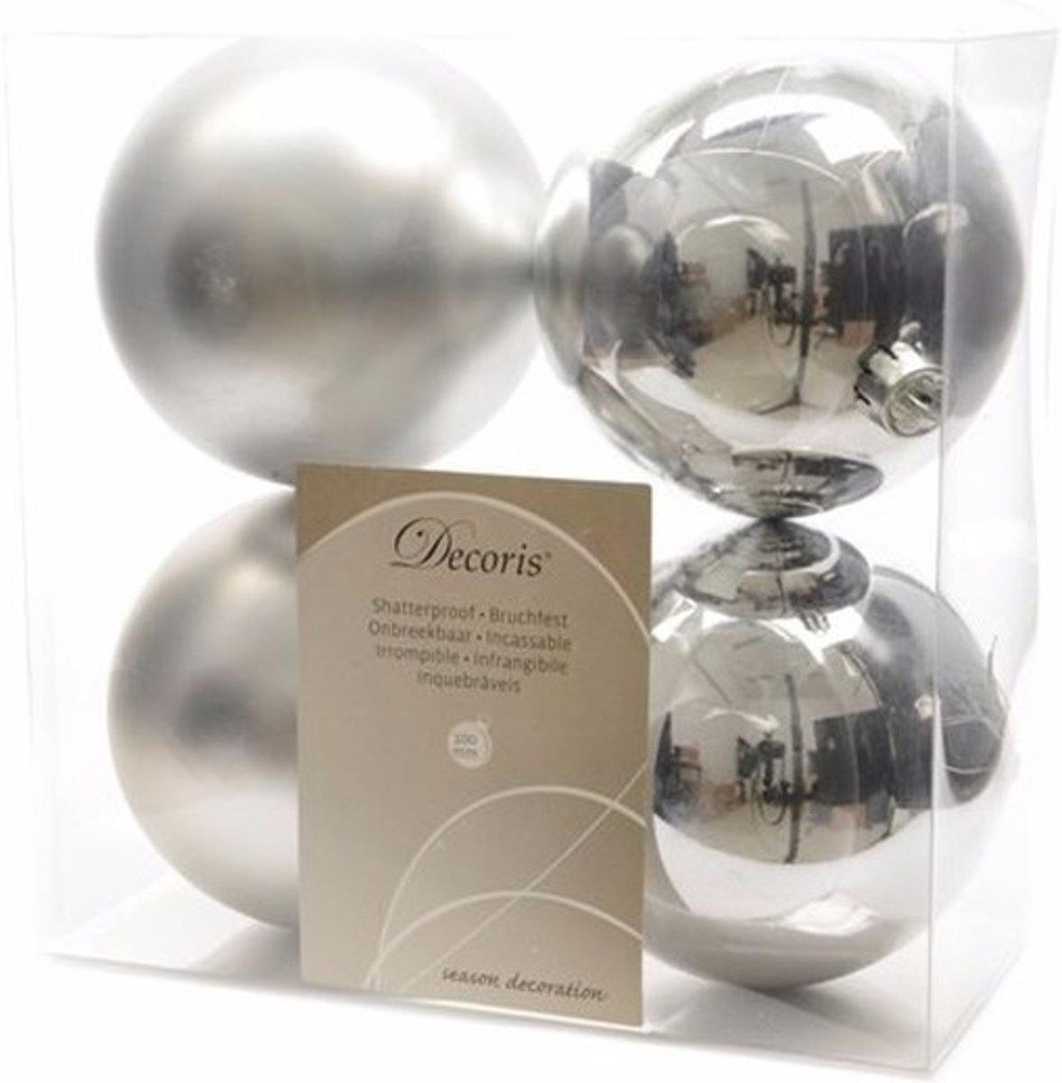 Onbreekbare zilveren kerstballen 10 cm - 8 stuks - kerstversiering kopen