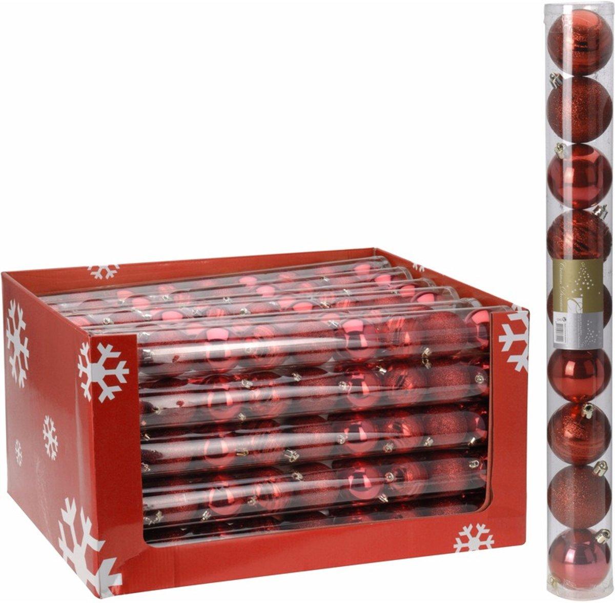 Kerstboom decoratie kerstballen mix rood 9 stuks kopen