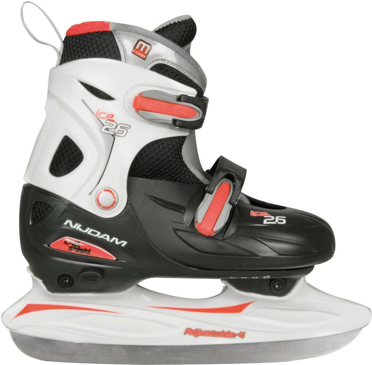 Nijdam 0026 Junior IJshockeyschaats - Verstelbaar - Hardboot - Zwart/Wit - Maat 34-37