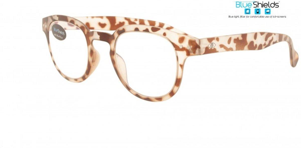 Icon Eyewear PFA312 +1.50 Blendin BlueShields Leesbril - Blauw licht filter lens - Transparant met bruine print kopen