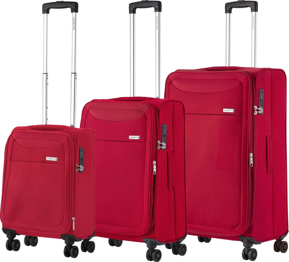 CarryOn Air - Kofferset met wielen - 3 delige trolleyset met TSA-cijferslot - 5 jaar garantie en anti-diefstal rits - Rood kopen