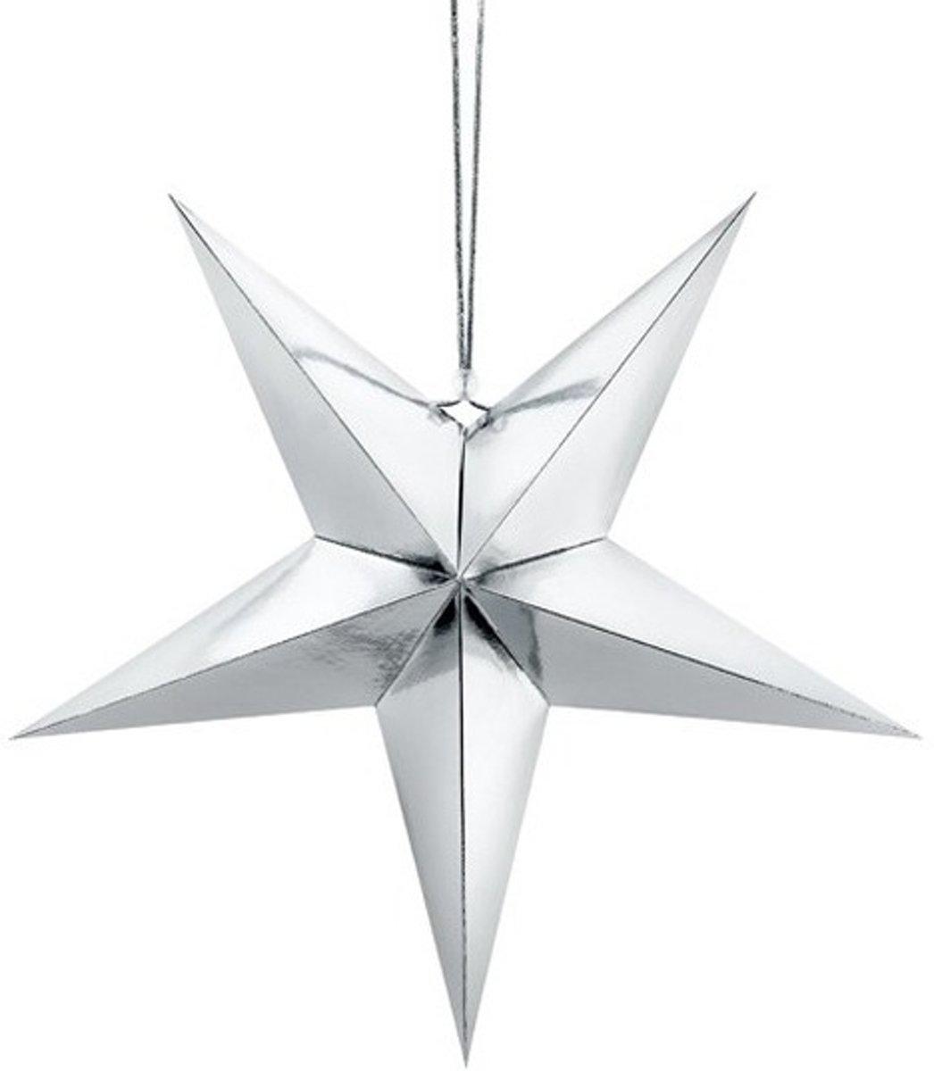 Zilveren ster 45 cm Kerst decoratie/versiering kopen
