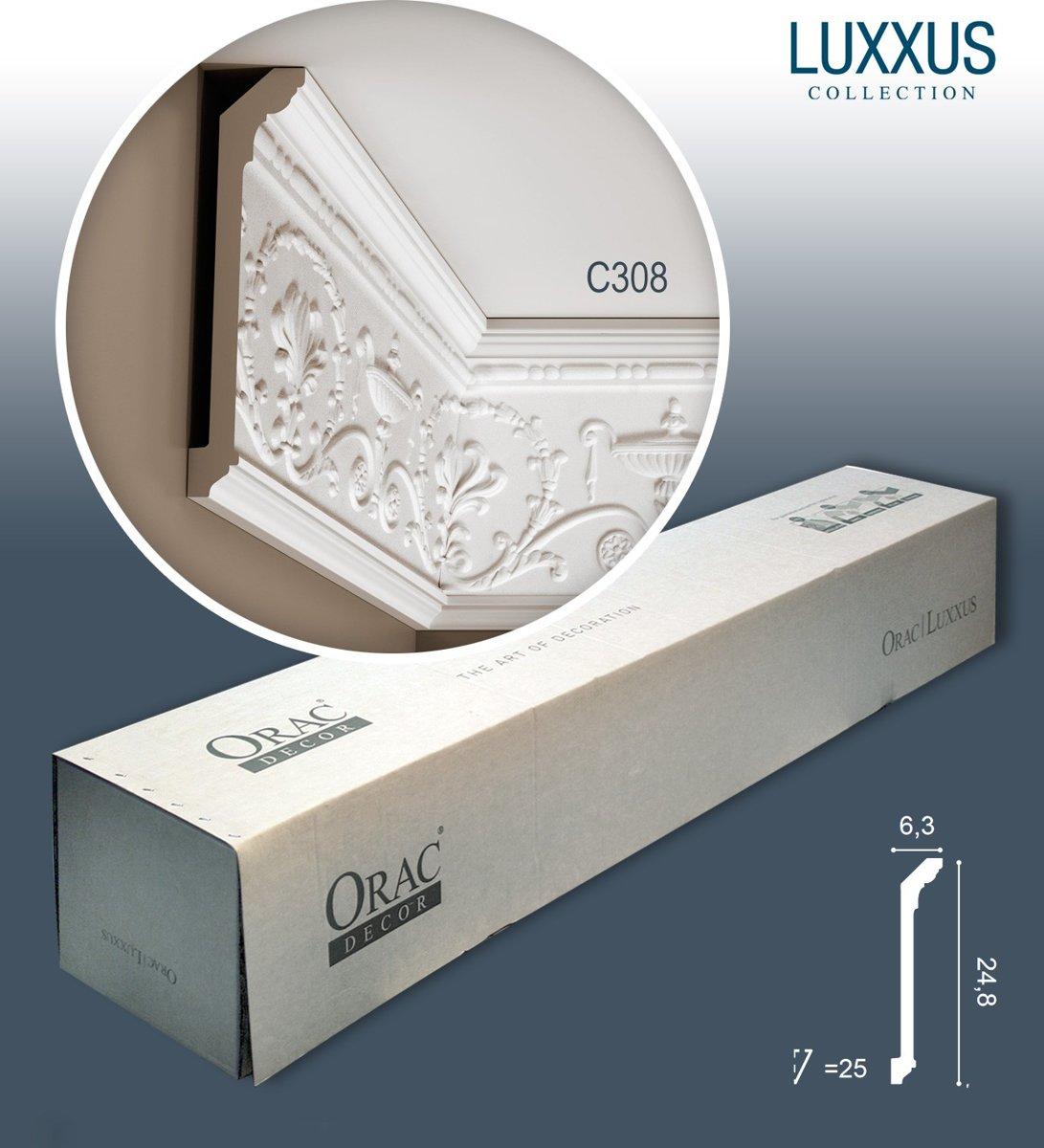 1 doos 10 Kroonlijsten Origineel Orac Decor C308 LUXXUS Plafondlijsten reliëf friesen wandlijsten Gordijnprofielen 20 m kopen