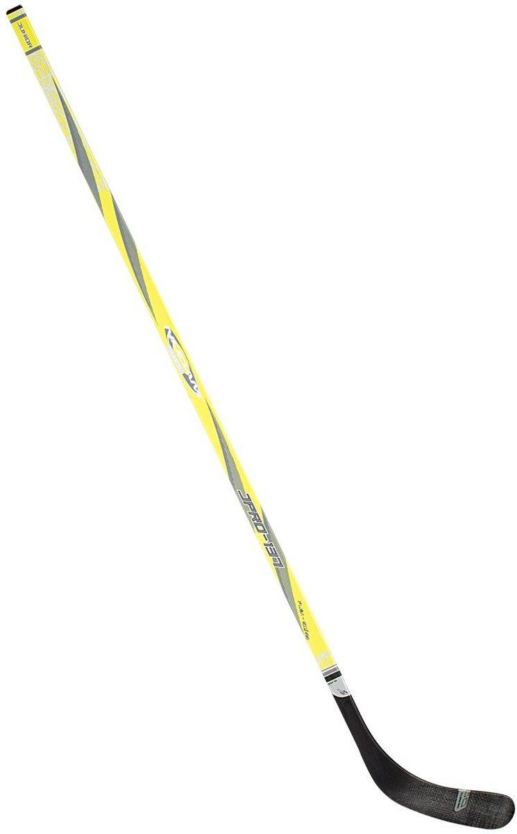 Nijdam IJshockeystick Hout/Glasfiber Jr - 137 cm - Fluorgeel/Antraciet/Zilver - Links
