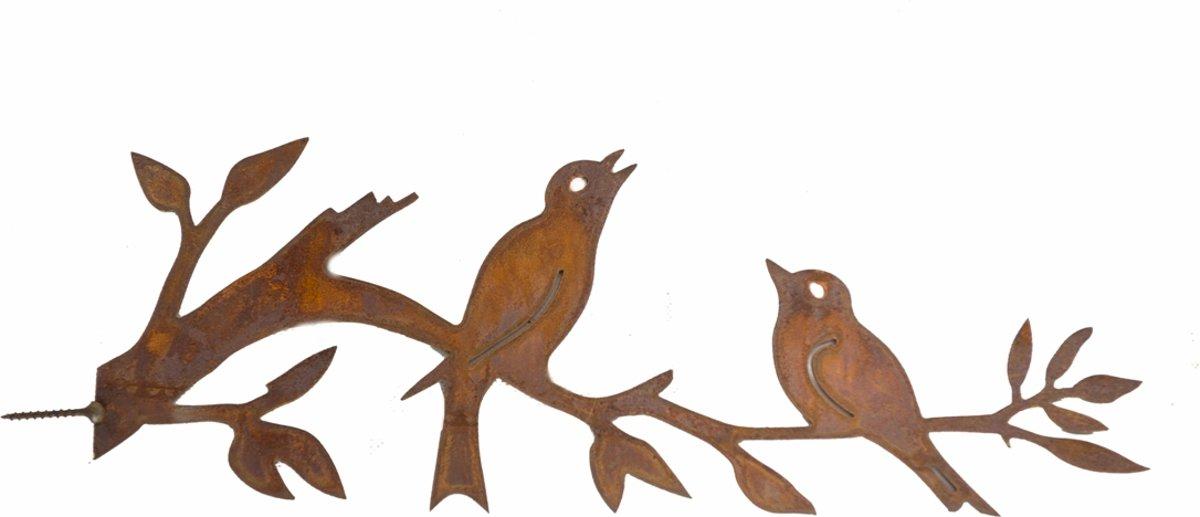BoomDecoratie 2 vogels op stokje   - boomschroef - boomprikker - schuttingdecoratie - tuindecoratie - metal - bird