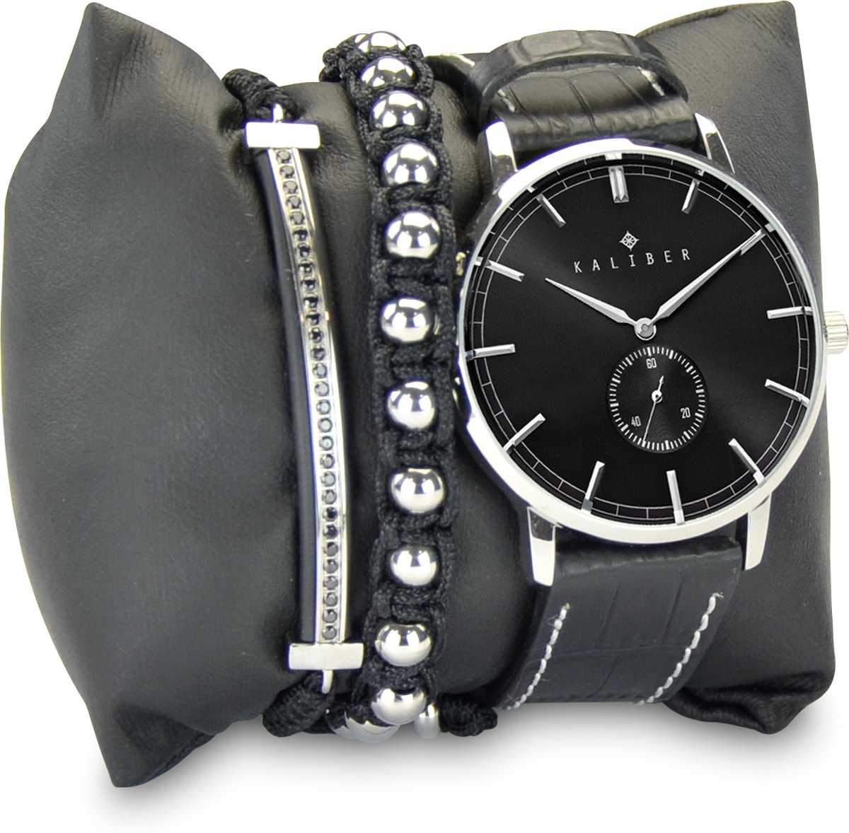 Kaliber 7KA SET001 Horloge Set met Armbanden - Leren Band - Ø 40 mm - Zwart / Zilverkleurig kopen