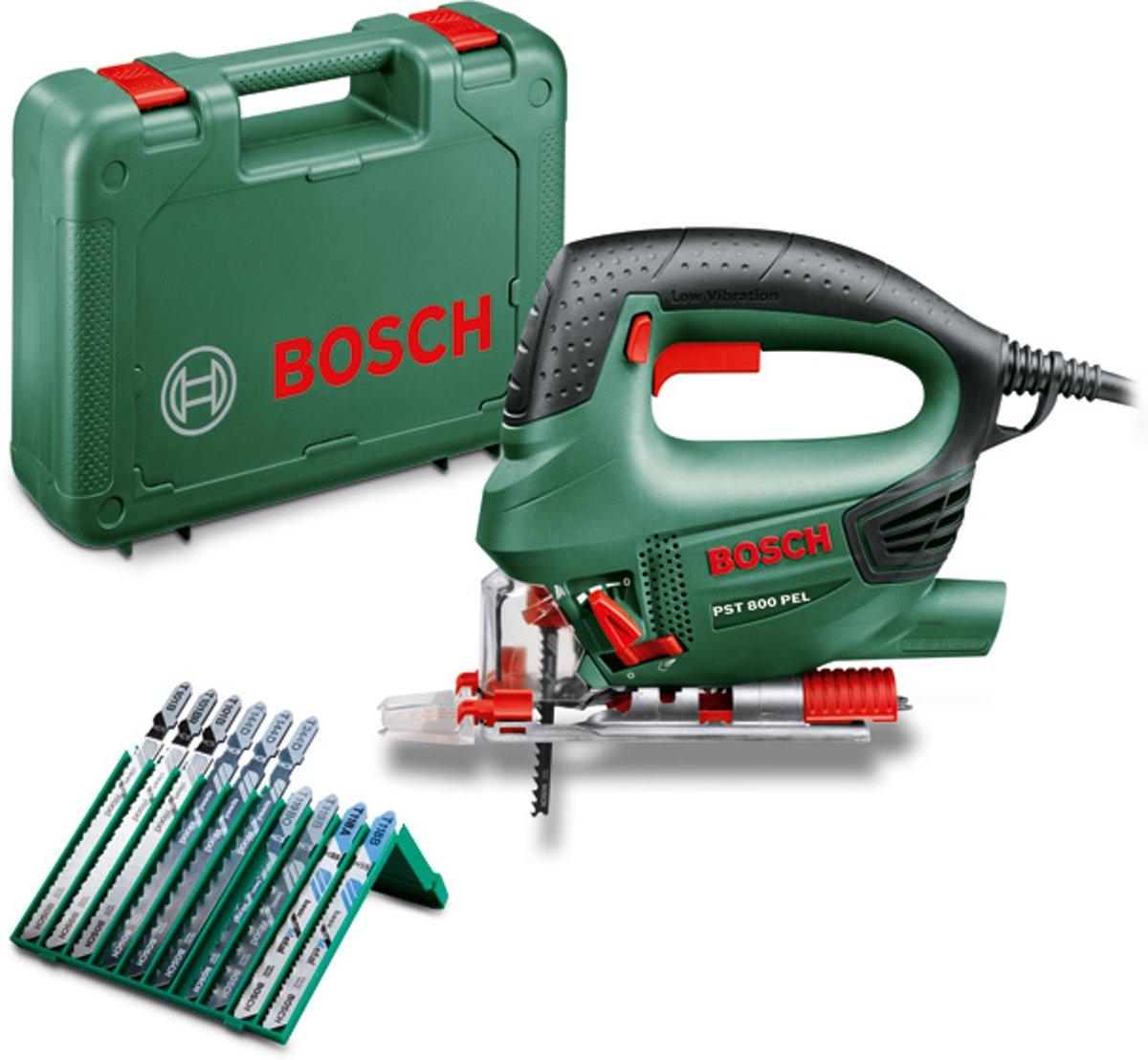 Bosch PST 800 PEL decoupeerzaag - 530 Watt - incl. kunststof koffer - gratis extra 10-delige zaagbladenset