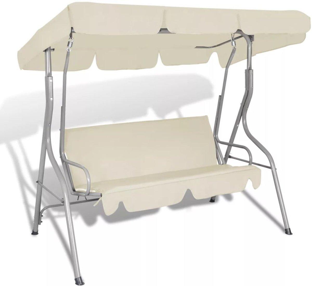 Hang schommelstoel met luifel voor buiten (zand wit) kopen