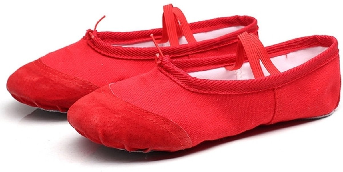 Let op type!! 2 Pairs Flats Soft Ballet Shoes Latin Yoga Dance Sport Shoes for Children & Adult  Shoe Size:35(Red) kopen