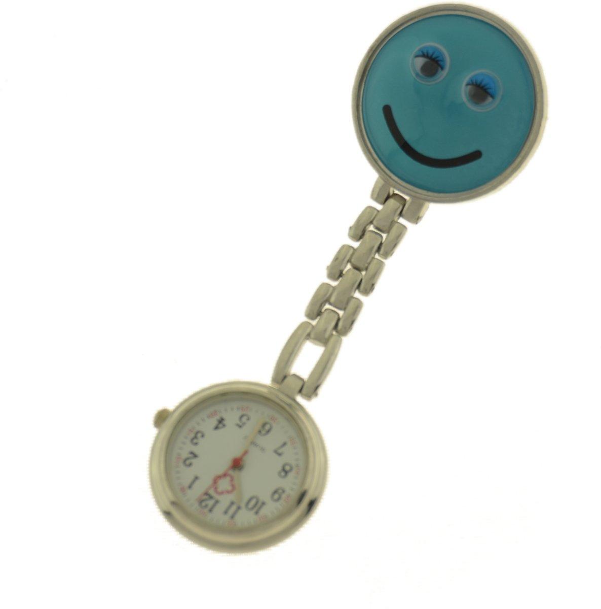 Treasure Trove® Verpleegster Horloge Happy Blauw - Zusterhorloge - Dames - Heren - 25mm kopen