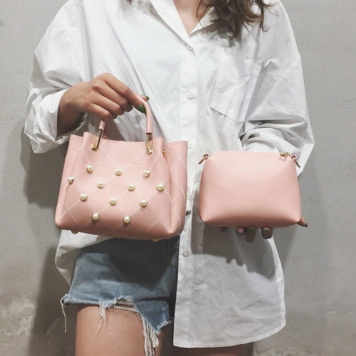 2 in 1 PU lederen schoudertas dames handtas messengertas (roze)