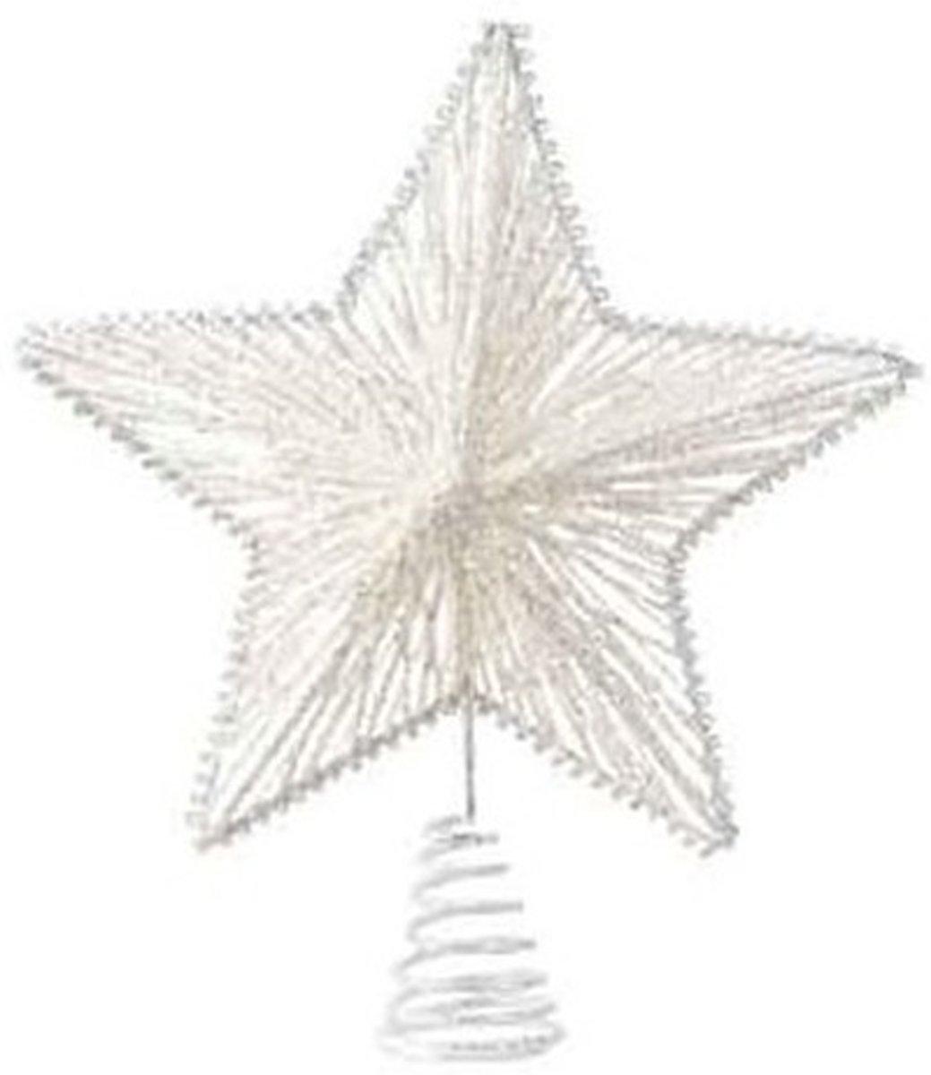 Witte sterren piek ijzer 25 cm - Witte kerstboom versieringen kopen
