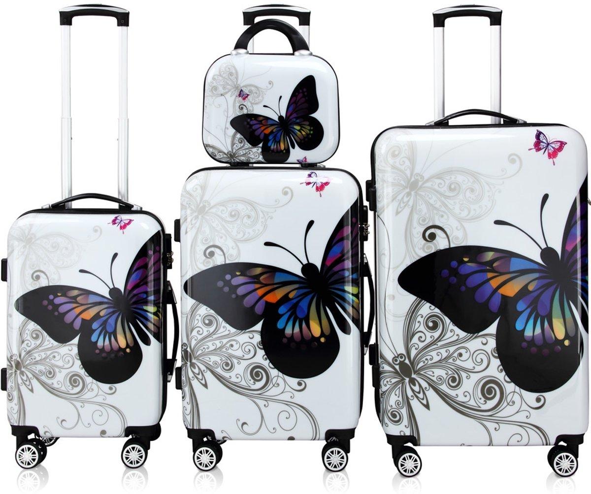 Kofferset, reisset, koffers, vlinder motief kopen