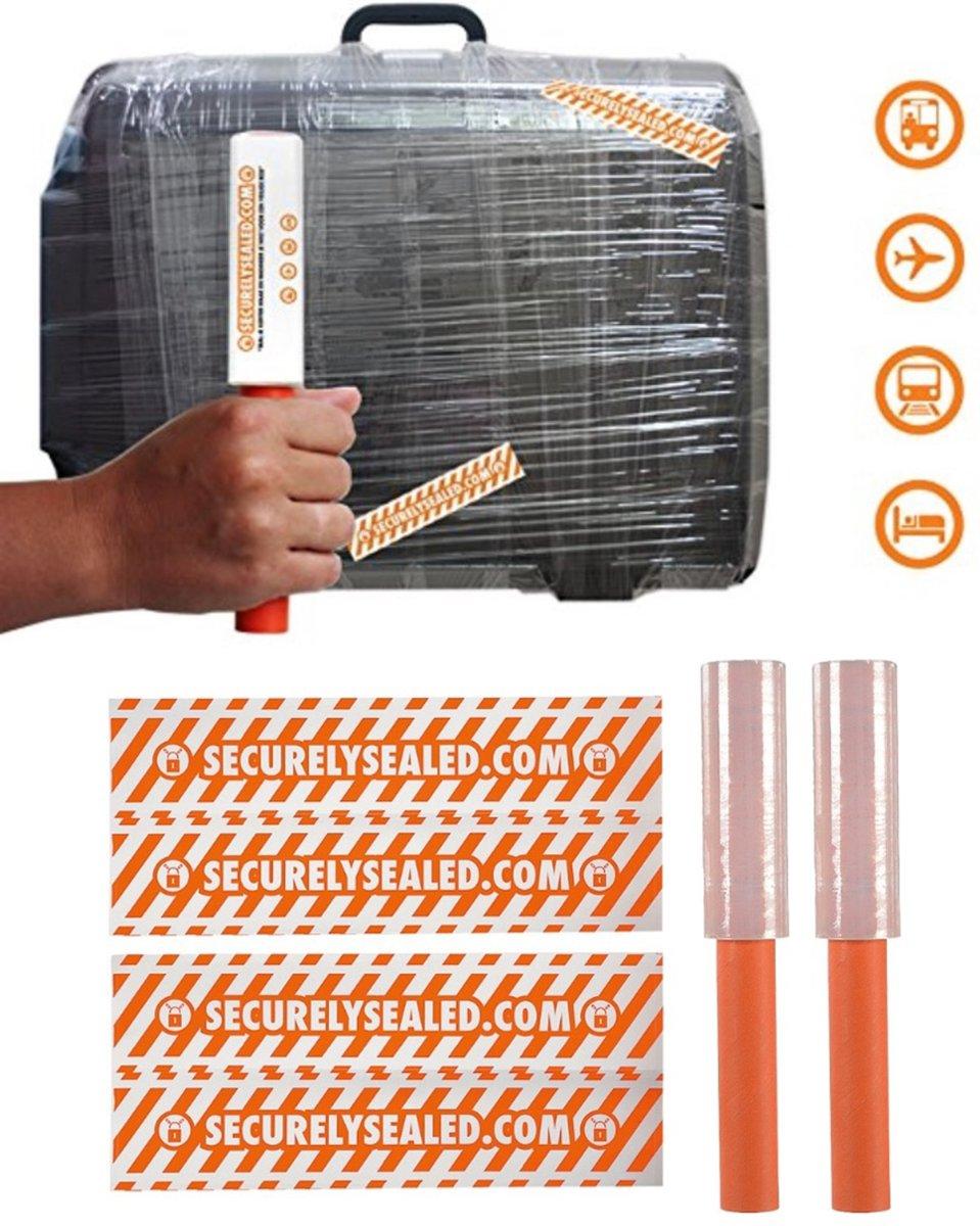 SecurelySealed Doe-het-zelf Bagage Sealer Set met 2 Rollen en 4 Bagagestickers | Doe-het-zelf Koffersealer met Stickers | Bagagebeveiliging Sealers kopen