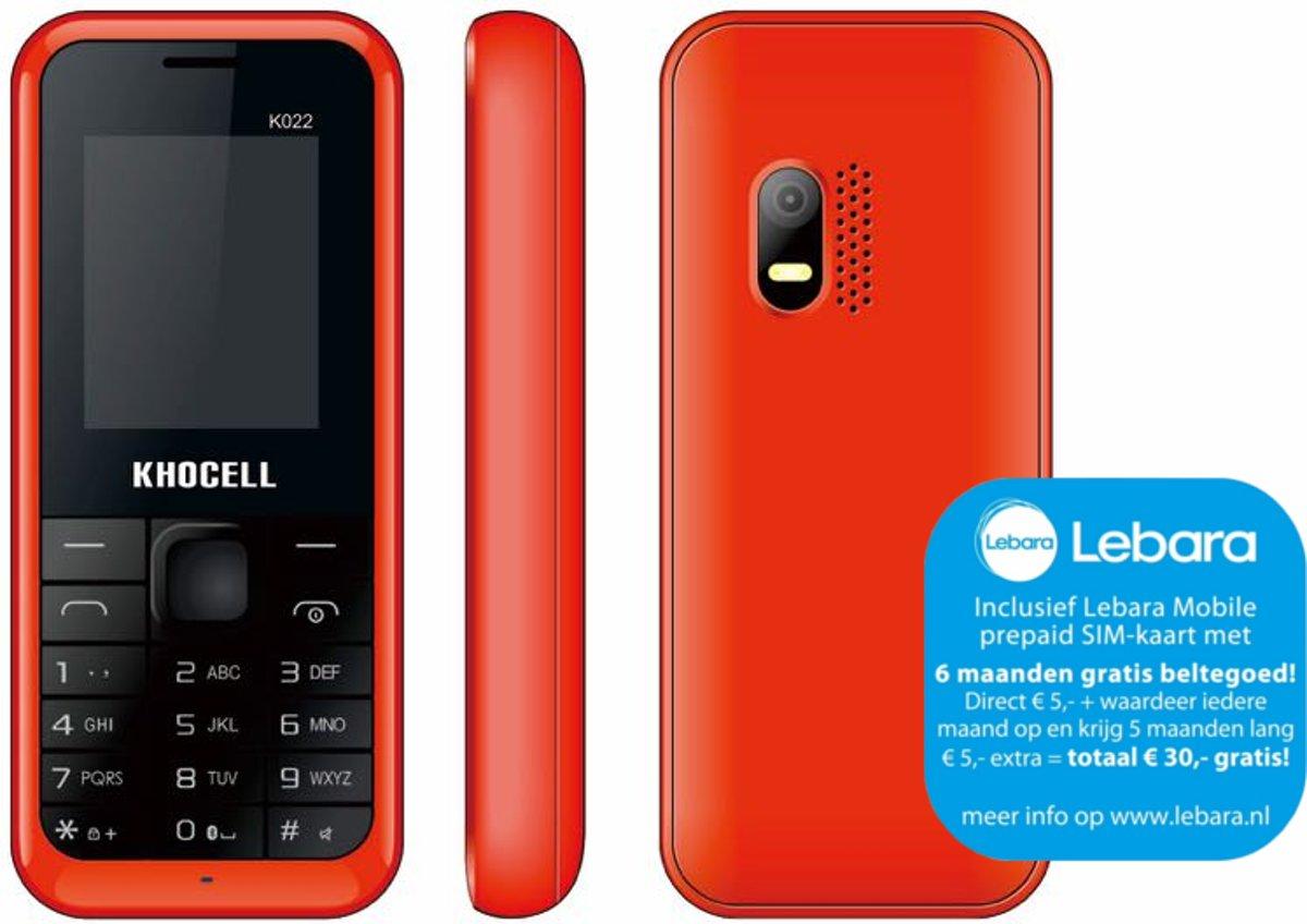 KhoCell K022 Rood Inclusief Lebara simkaart met  €30,- beltegoed*  + gratis 3-1 data kabel kopen