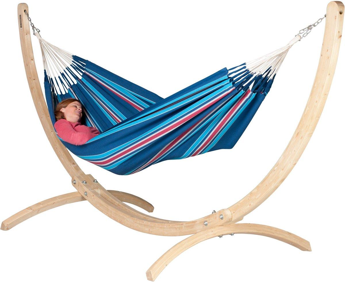Hangmatset: 2-persoons hangmat CURRAMBERA blueberry + Standaard voor 2-persoons hangmat CANOA