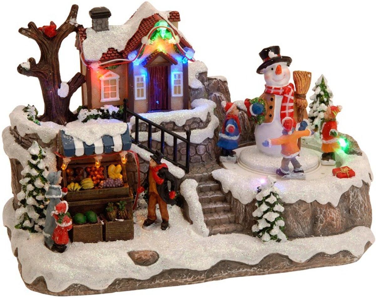 Kersttafereel (huis met bewegende sneeuwman) kopen
