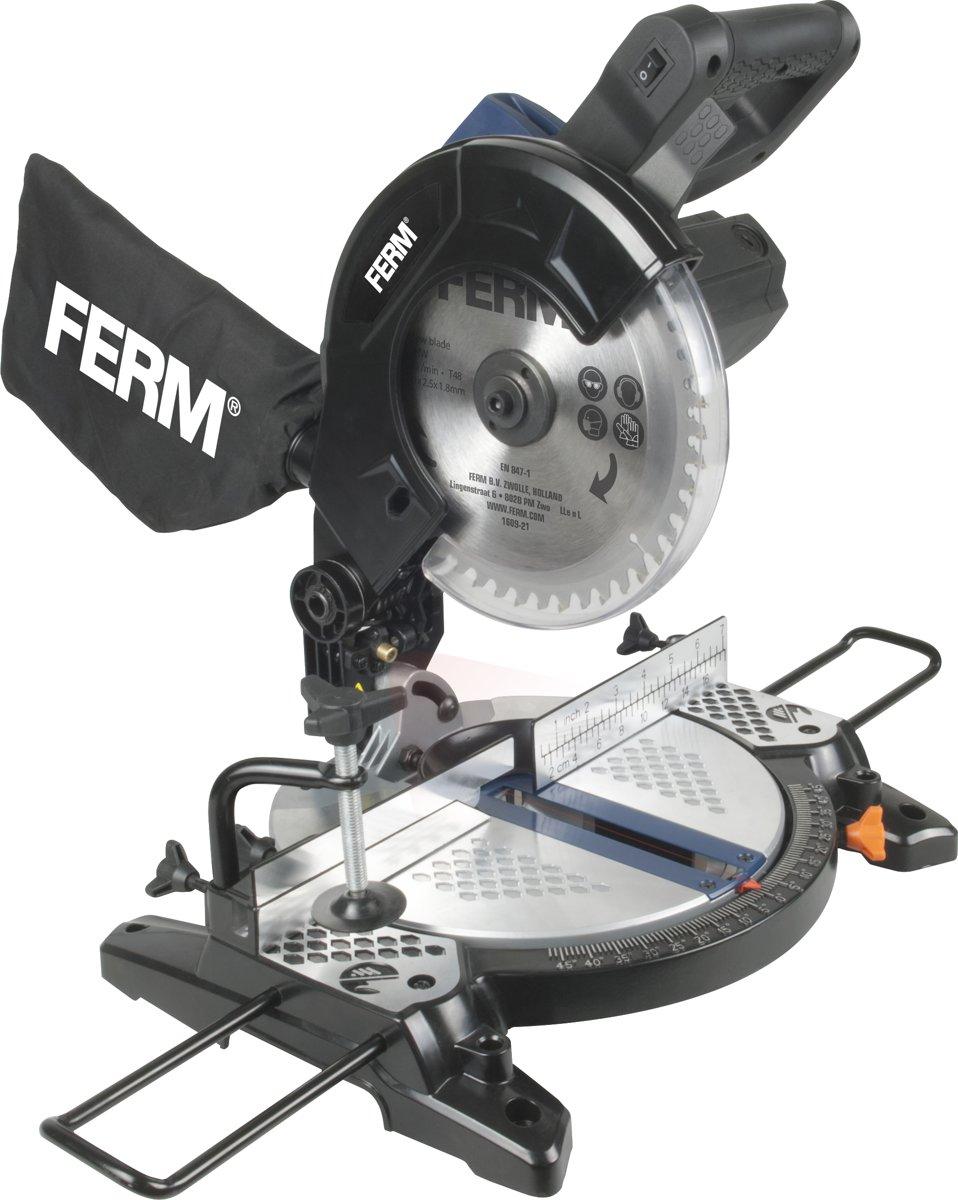 FERM MSM1037 Afkortzaag - 1300W - Ø210mm - Aluminium voetplaat - Laser - Incl. Kwalitatief 48T TCT zaagblad, zijsteunen en Stofopvangzak