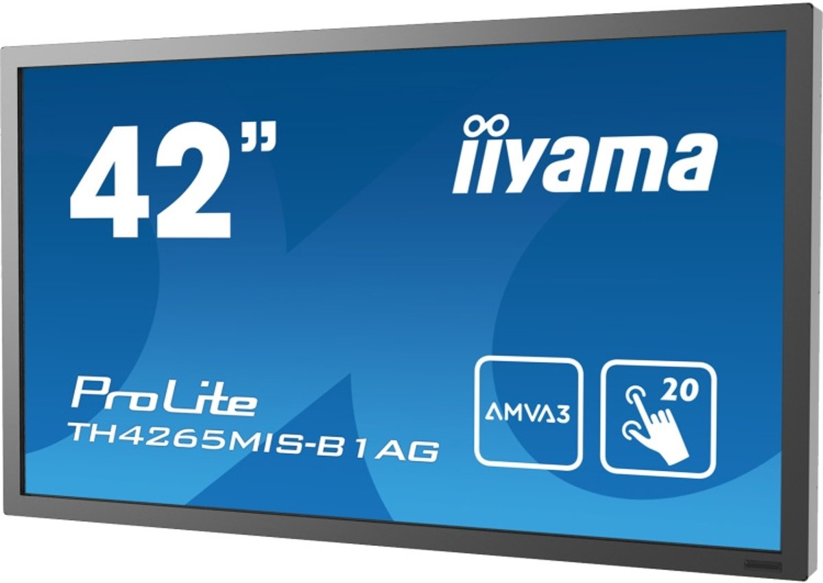 iiyama ProLite TH4265MIS-B1AG touch screen-monitor 106,7 cm (42'') 1920 x 1080 Pixels Zwart Multi-touch