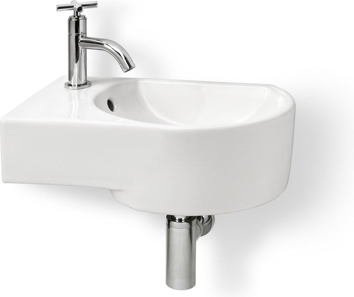 Differnz Appollo Fontein Toilet Links - Set - Fontein 41 x 27 cm inclusief fonteinkraan en sifon - Keramiek - Wit kopen