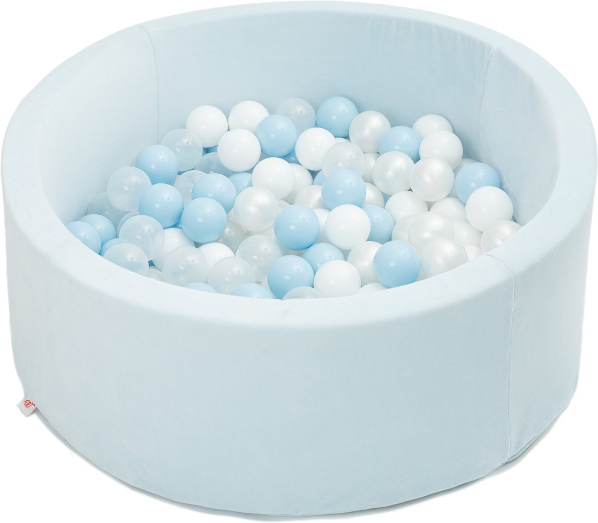 FUJL - Ballenbak - Speelbak - Licht blauw - ⌀ 90 cm - 200 ballen - Kleuren - blauw - Parel  -Wit - Transparant