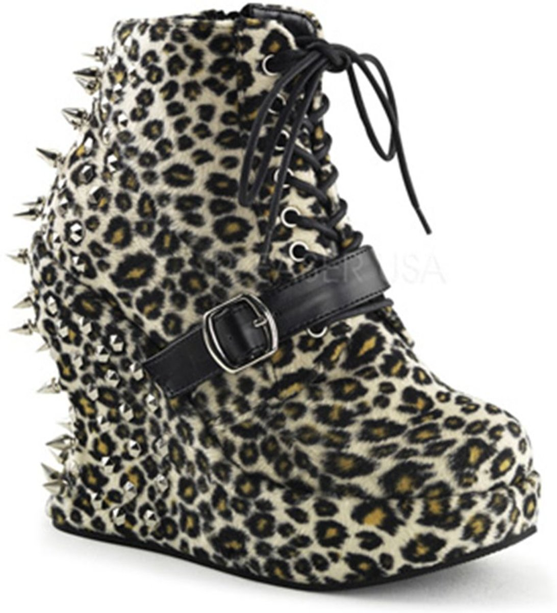 Bravo 23 Ankle boot with wedge and stud detail leopard print (EU 36 = US 6) Demonia