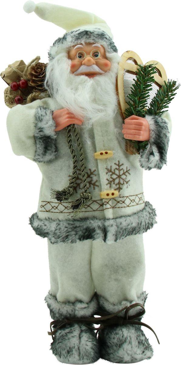 Luxe Afgewerkte Kerst Decoratie Kerstman Staand Wit/Grijs 30cm kopen