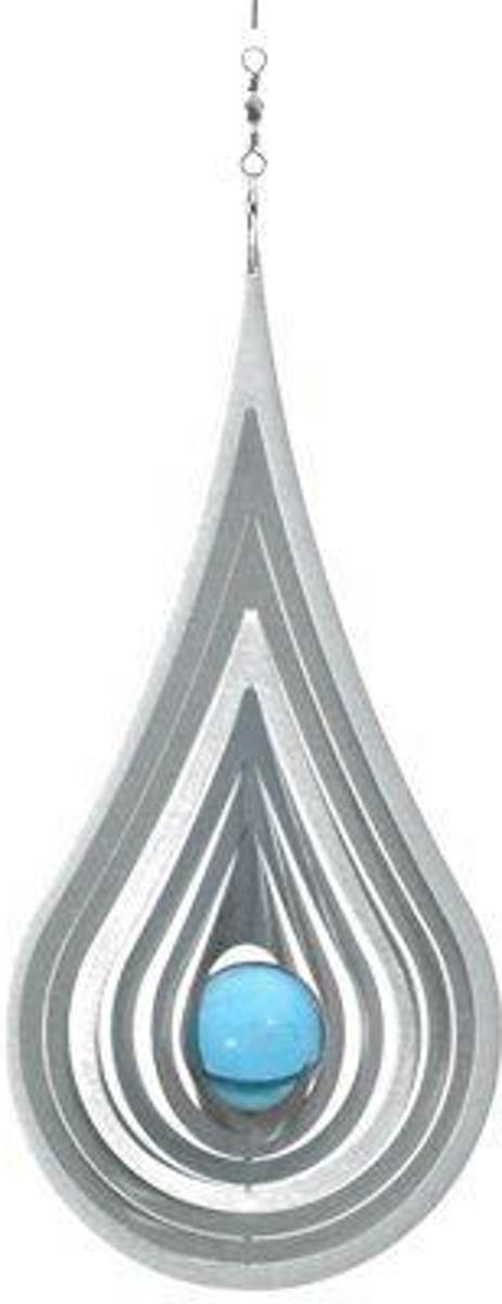 Windspinner RVS Teardrop 35mm aqua kogel kopen