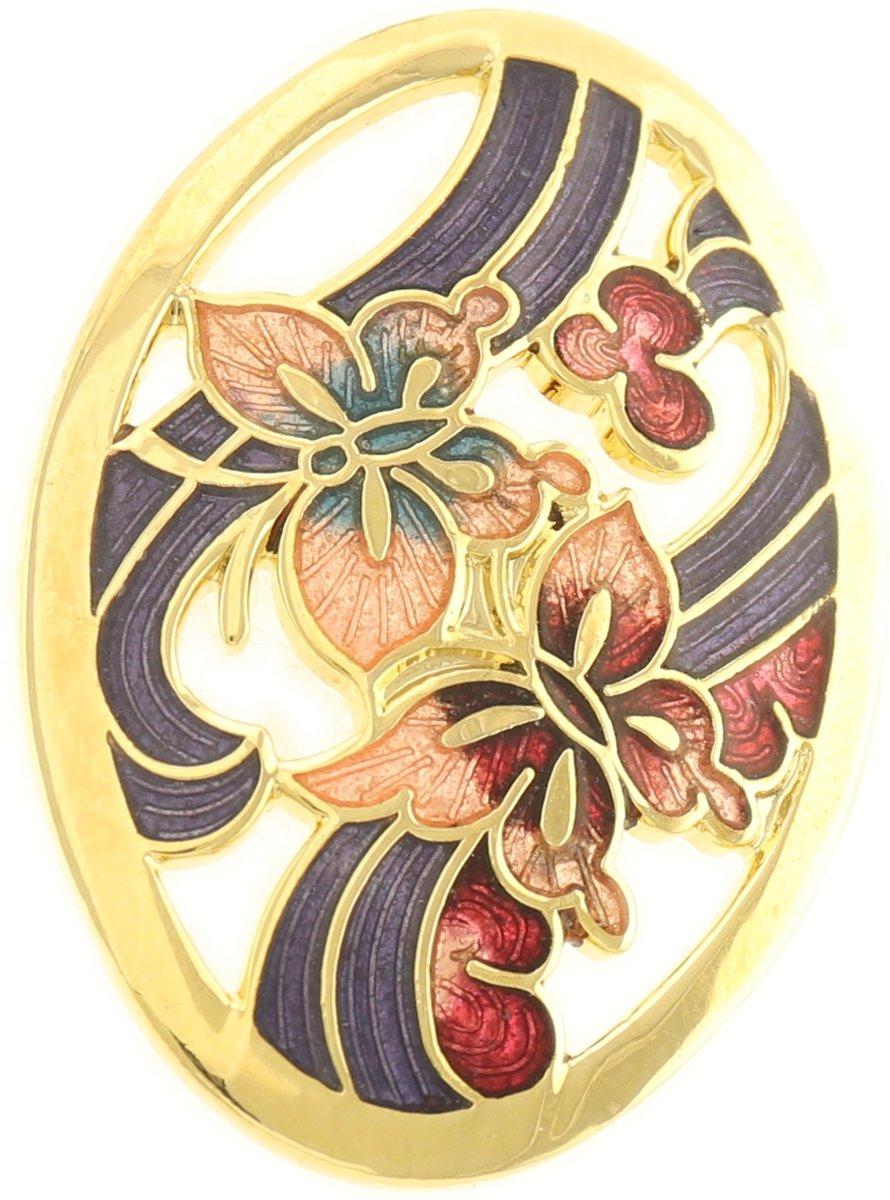 Behave® Broche ovaal met vlinders goud-kleur en paars emaille kopen