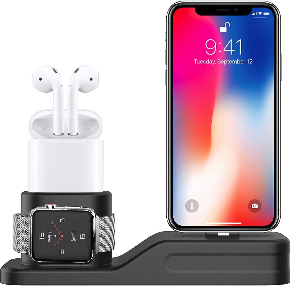Sneed ® 4 in 1 Oplaadstation - Geschikt voor Apple IPhone / Airpods / Apple Watch / Apple Pencil - Charging Dock - Charging Base - Siliconen - Milieuvriendelijk - Multi-functioneel - Draadloze oortjes - iWatch - Zwart kopen