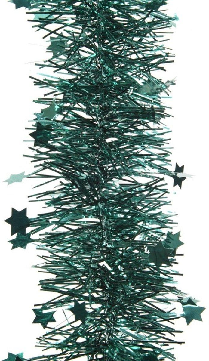 Smaragd groene kerstversiering folie slinger met ster 270 cm kopen
