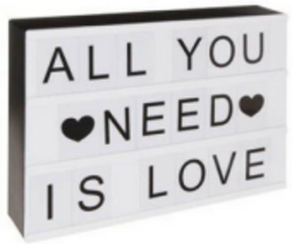 Lichtbak met 100 letters en emoticons A4 - lightbox - wit - 300x221x45mm kopen