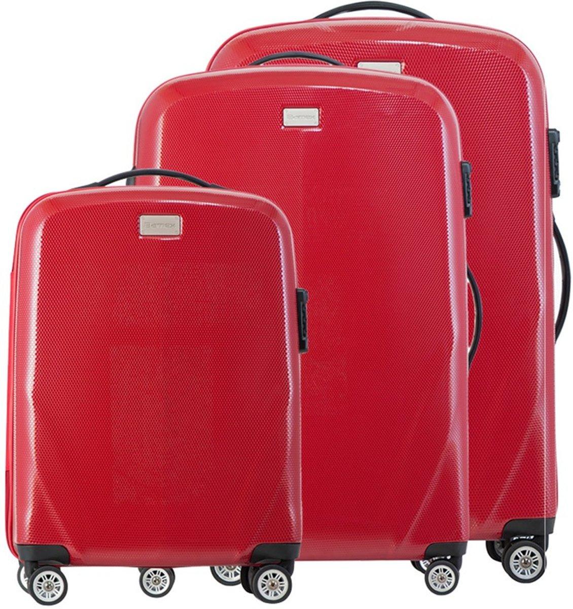 Bamex Reiskoffer Set Miami Velvet Red - 20 + 24 + 28 kopen