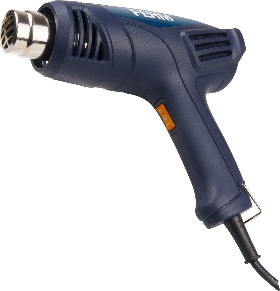 FERM HAM1015 - Heteluchtpistool/ Verfbrander 2000W - 2 temperatuurstanden – Incl. 2 opzetstukken en  koffer kopen