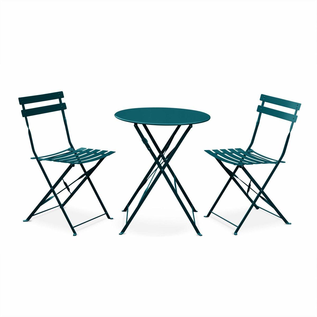 Bistro tuin set, 1 ronde tafel en 2 opklapbare stoelen met poedercoating kopen