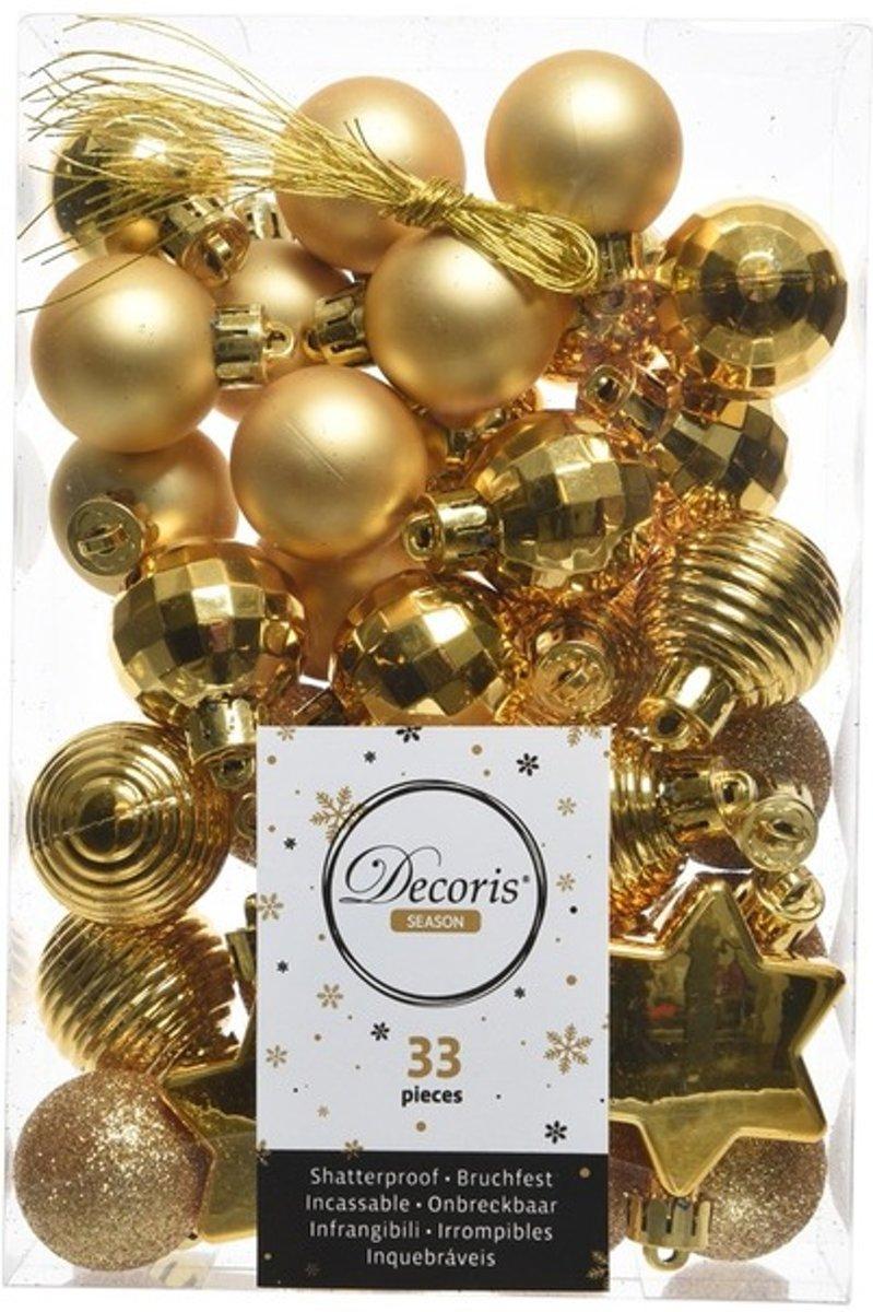Gouden kerstversiering kerstballenset 33 stuks - kerstbal kopen