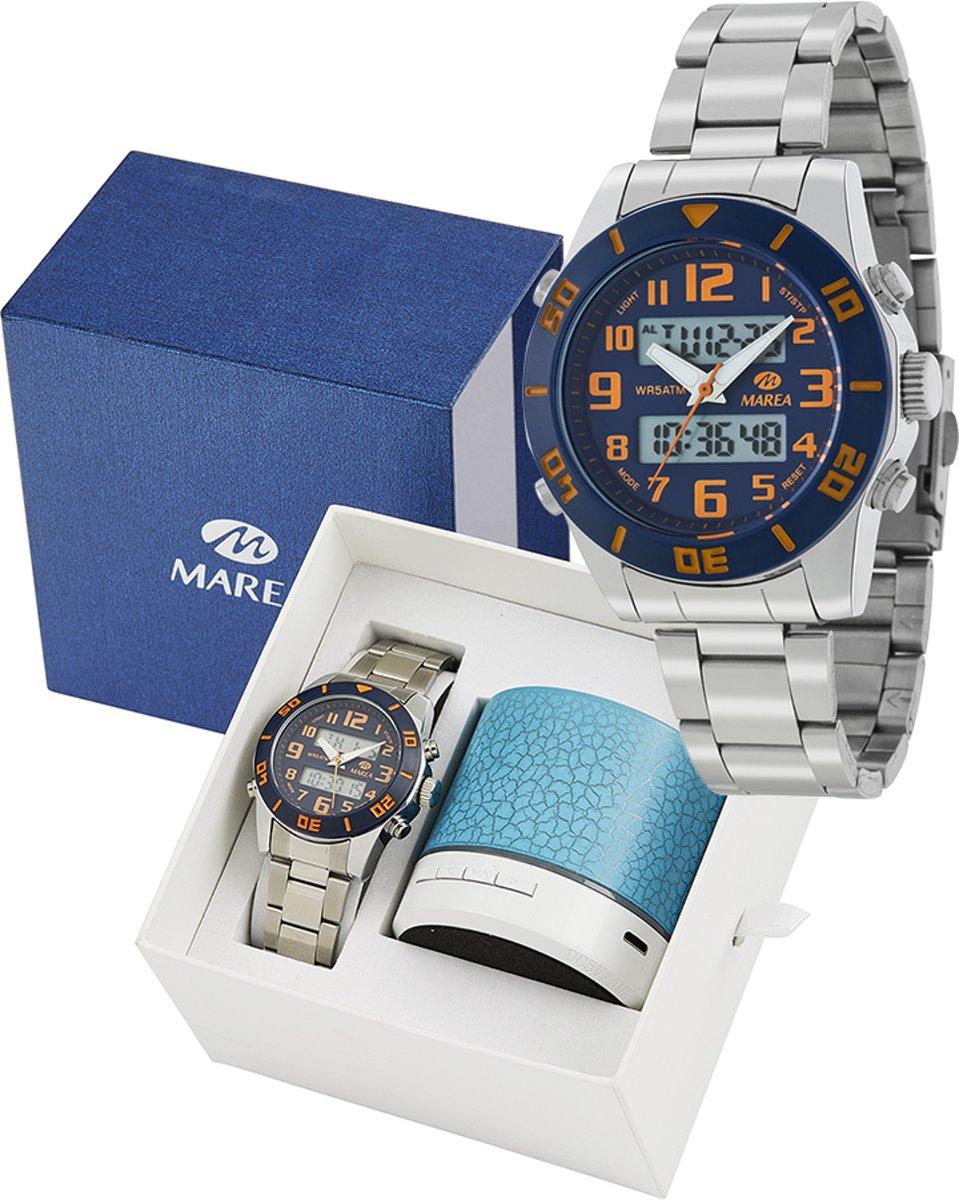 Marea B35281/12 analoog/ digitaal horloge 38 mm 50 meter blauw/ oranje kopen