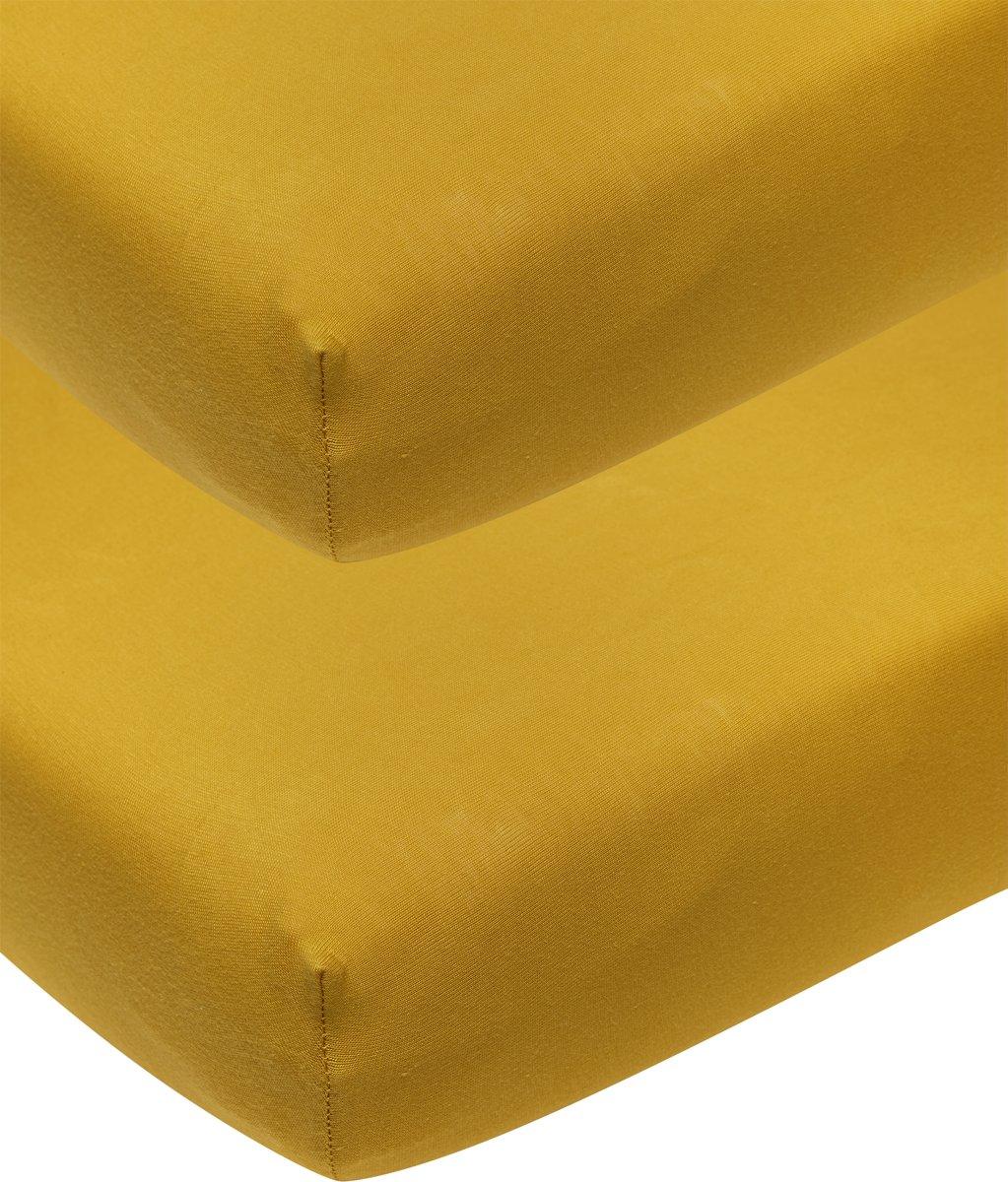 Meyco jersey hoeslaken 2-pack - 70x140/150 cm - okergeel